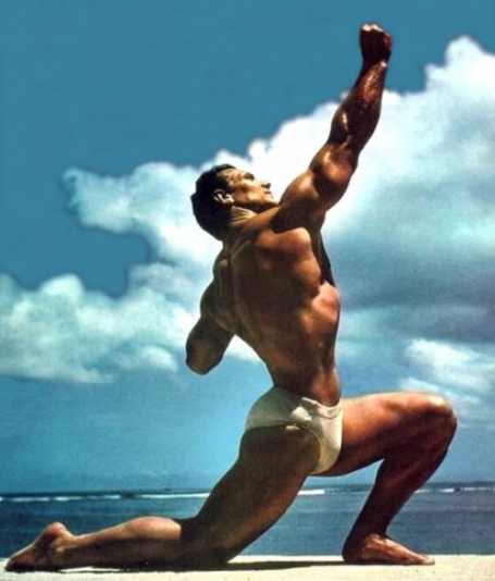 John Grimek Kneeling Twisting Back Bodybuilding Pose