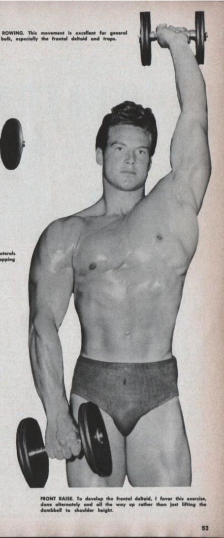 Steve Reeves Bodybuilding Dumbbell Standing Front Raise