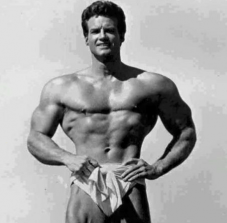 Steve Reeves Standing Bodybuilding Pose Wide Clavicles Shoulders