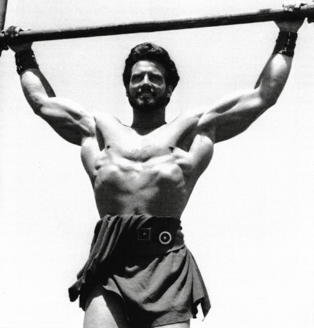 Steve Reeves Very Wide-Grip Pull-Up Pose