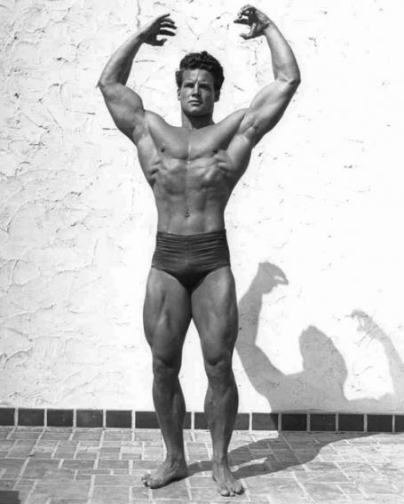 steve reeves arms overhead bodybuilding pose